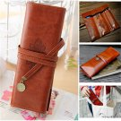 PU Leather Pencil case Make Up Bag Brown