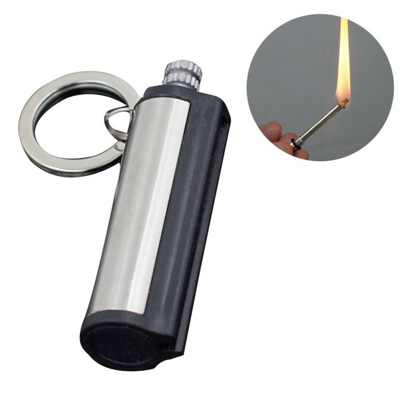 2 x Steel Fire Starter Flint Match Lighter Keychain Camping Survival Gear