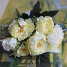 White Peony Silk Flowers Leaf Bouquet Home Decor x 4 Bouquet