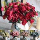 Red Peony Silk Flowers Leaf Bouquet Home Decor x 4 Bouquet