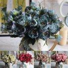 Blue Peony Silk Flowers Leaf Bouquet Home Decor x 4 Bouquet