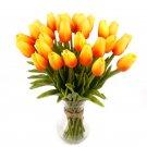 20 Pcs Orange Color Tulip Artificial Flower Latex Real Touch Wedding Bouquet