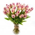 20 Pcs Purple Color Tulip Artificial Flower Latex Real Touch Wedding Bouquet