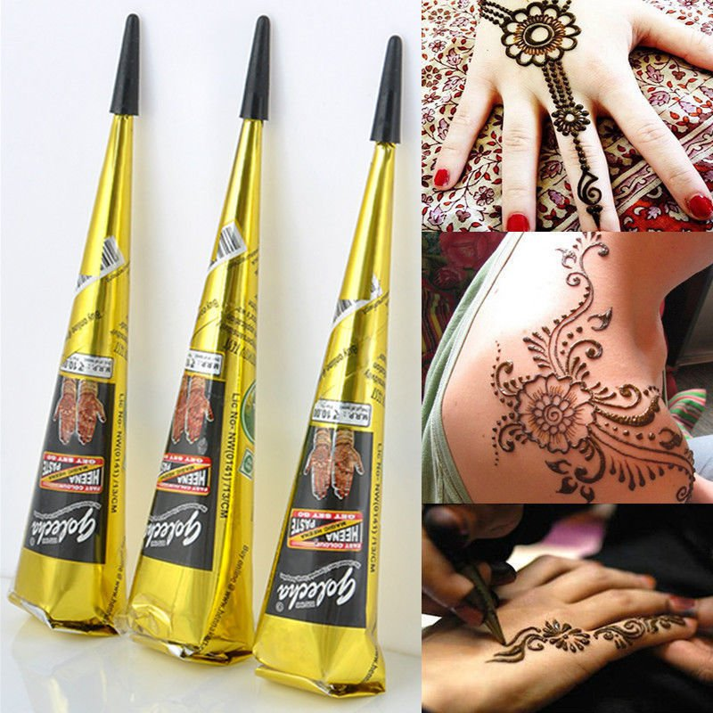 2 x Natural Herbal Henna Cones Temporary Tattoo kit Black Body Art Paint Mehandi Ink