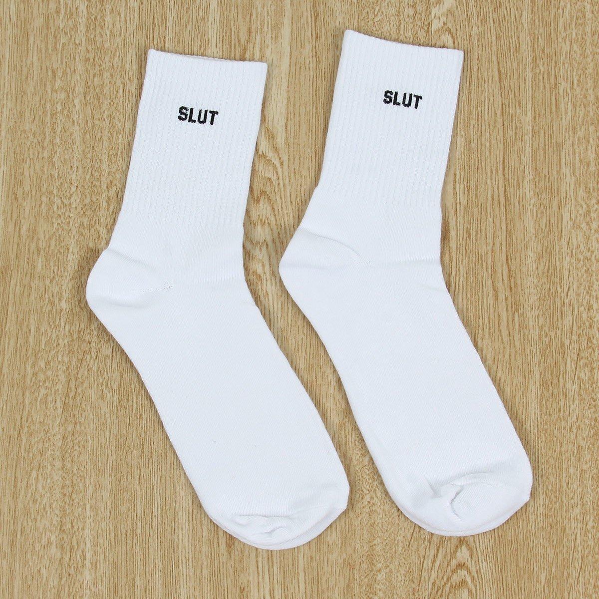 Fashion Men Women ( SLUT) Print Funny Casual Sport White Black Skateboard Socks