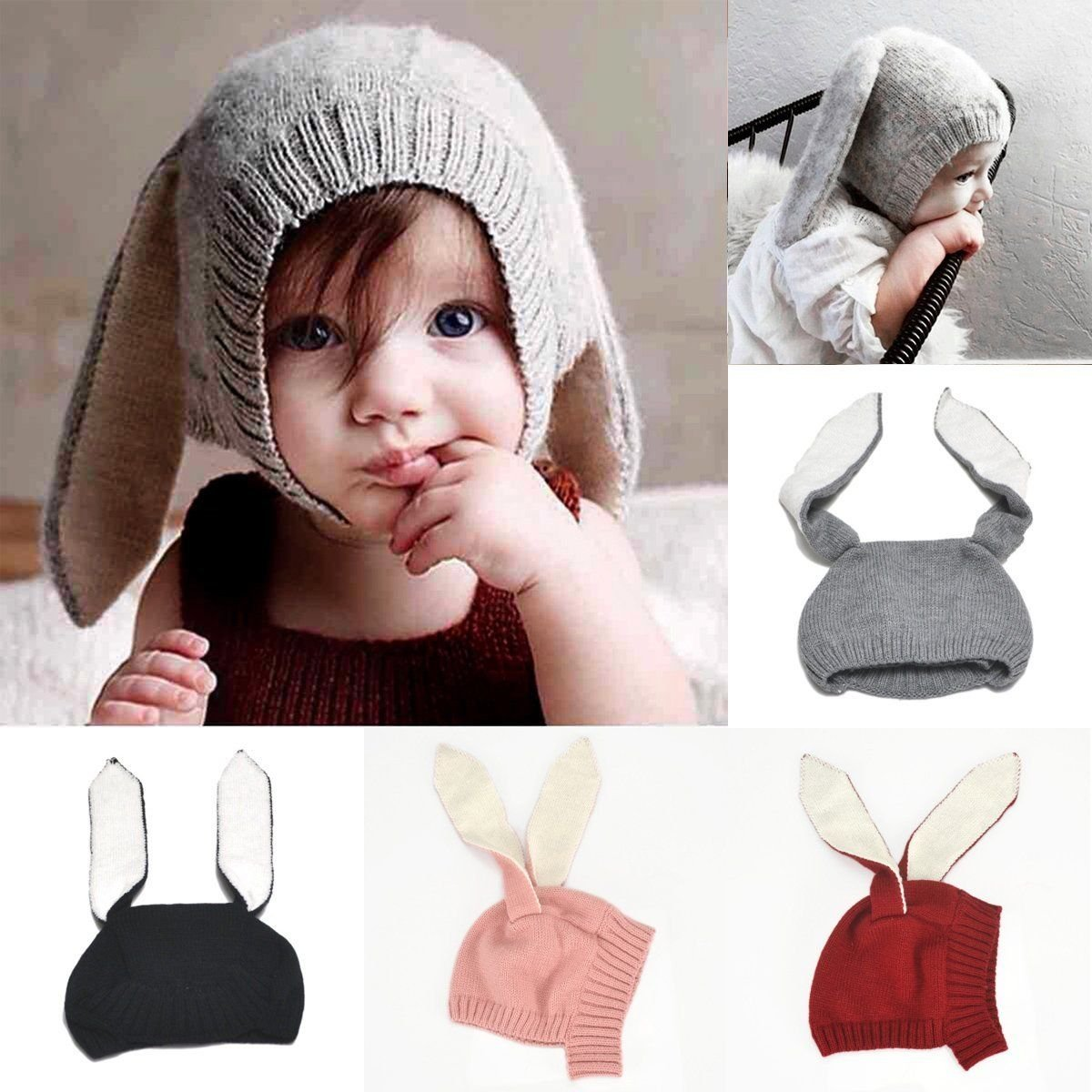Winter Baby Toddler Kids Boy Girl Knitted Rabbit Crochet Ear Beanie Warm Hat Cap 1 pcs