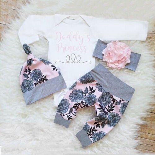 4PCS Newborn Infant Baby Girl Outfits Clothes Set Romper Bodysuit+Pants Leggings new