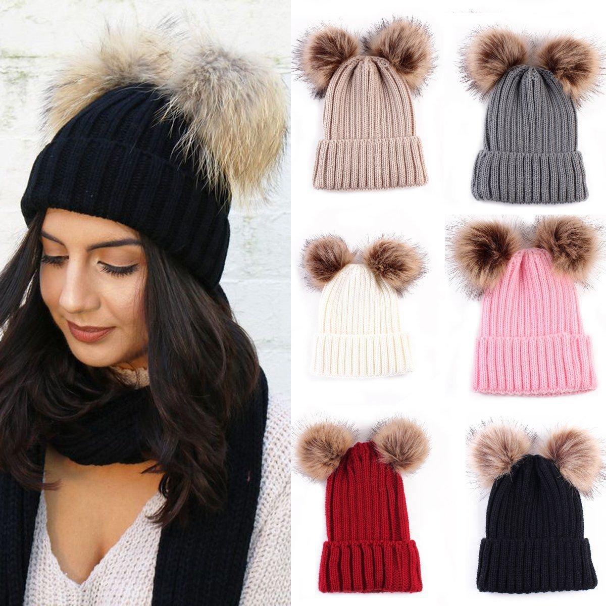 Braided Crochet Wool Knit Beanie Beret Ski Ball Cap Baggy Womens Winter Warm Hat new
