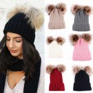 Braided Crochet Wool Knit Beanie Beret Ski Ball Cap Baggy Womens Winter Warm Hat new