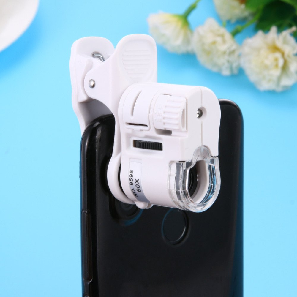 Universal 60X Mobile Phone Microscope Macro Lens Zoom Micro Camera Clip with LED Light