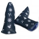 Golf Blade Club Headcover Putter Cover Ping Type Navy Style Magnetic Closure Blue