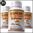 PURE TURMERIC BIOPERINE BLACK PEPPER LONGA LINN CURCUMIN 95% CURCUMINOID TUMERIC EE