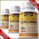 2 BOTTLES Turmeric 95% Curcumin Extract Tumeric Capsules Anti Inflammatory Pain Relief ZZ