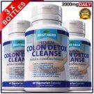 180 Colon Detox Cleanse Pills Flush Pounds Lose Weight Loss Diet Slimming Fiber ZZ