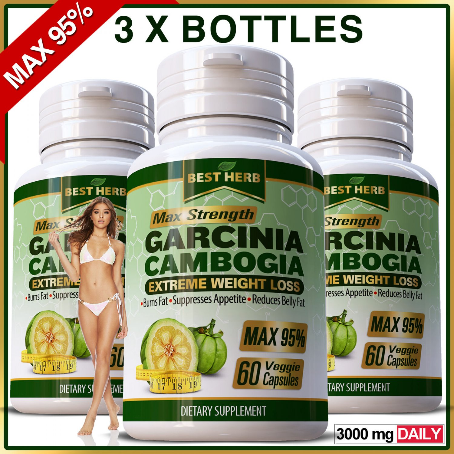 180 Garcinia Capsules Weight Loss Diet Ultra Pure 3000mg Daily Slimming Natural ZX