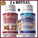 2 BOTTLES FORSKOLIN NATURAL SLIMMING DIET WEIGHT LOSS PILLS COLON DETOX CLEANSE ZX