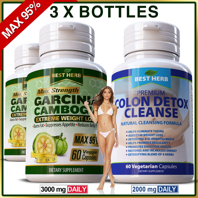 3 x Bottles Garcinia MAX 95% Natural Diet Colon Detox Weight Loss Slimming Pills ZX