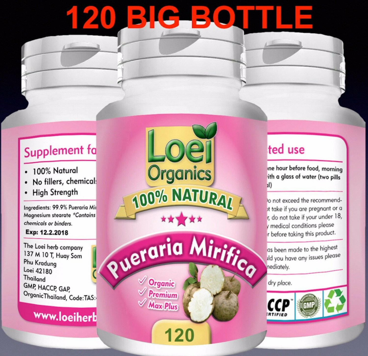 120 PILL BOTTLE 100% STRONG PUERARIA MIRIFICA BREAST ENLARGEMENT Discreet Post ZX