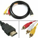 1080P HDMI Male to 3 RCA S-video AV Audio Cable Cord Adapter for TV HDTV DVD US new