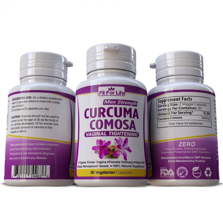 CURCUMA COMOSA Vaginal Tightening Herbal Pills Stop odor PMS 60 Caps
