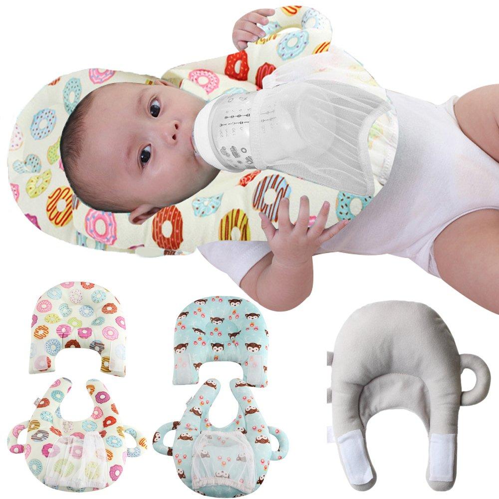 Baby Bottle Holder Feeding Pillow Infant Self Nursing pad Baby Pillow light blue