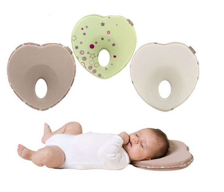 Newborn Baby Pillow Anti-rollover Pillow Infant Baby Positioning Pillow Gray Heart