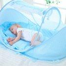 Baby Bedding Crib Netting Folding Baby Mosquito Nets Bed Mattress Pillow Blue