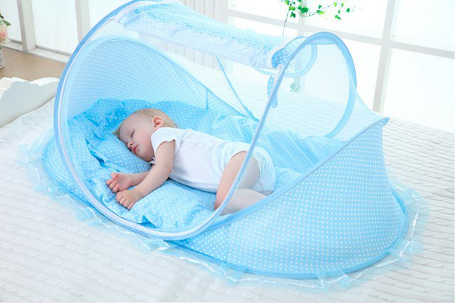 Pink Baby Bedding Crib Netting Folding Baby Mosquito Nets Bed Mattress Pillow Pink