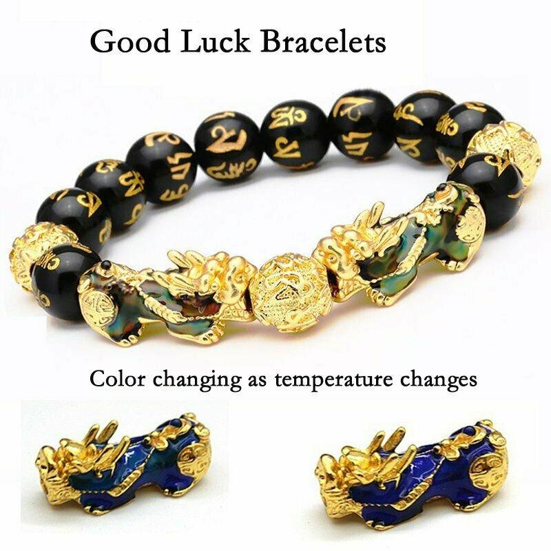 Feng Shui Black Obsidian Beads Pi Xiu Wealth Bracelet Good Luck Unisex Jewellery new