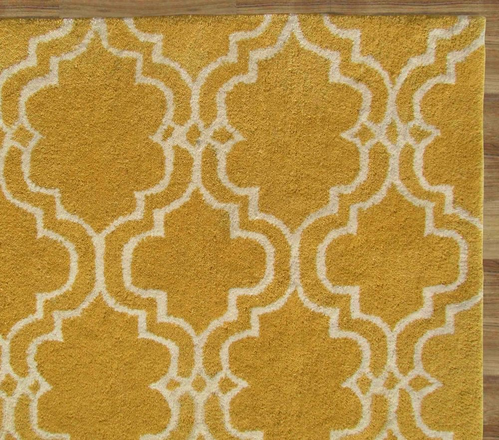 Moroccan Scroll Tile Light Blue Handmade Persian Style: Moroccan Scroll Tile Yellow 8' X 10' Handmade Persian