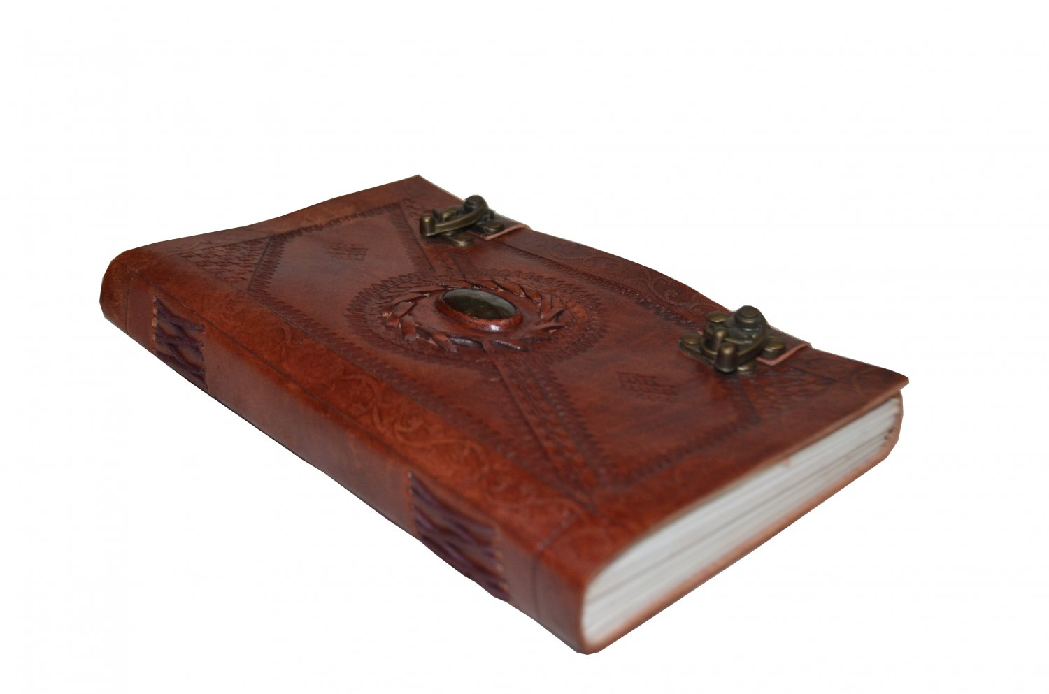 Embossed Sketchbook with gem stone and brass clasp
