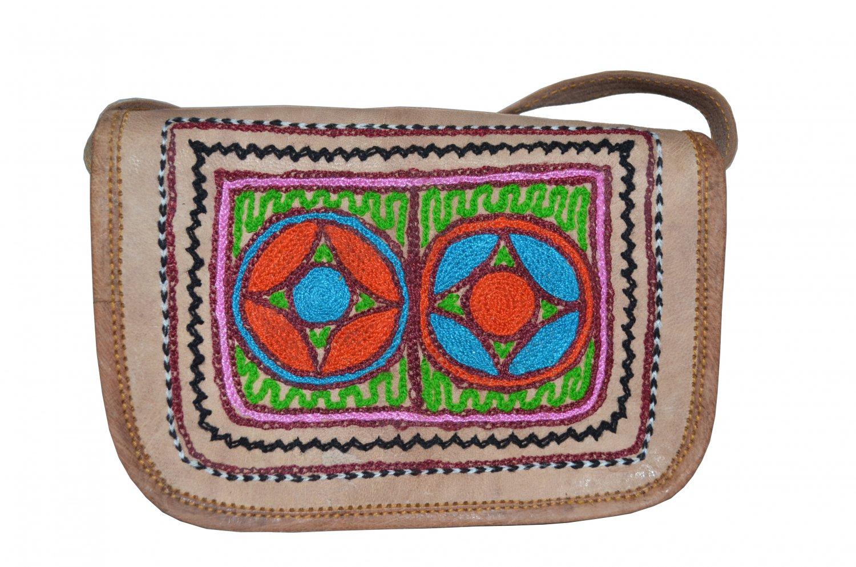 Embroidered Leather Handbag ethnic women's bag, satchel, crossbody purse clutch.