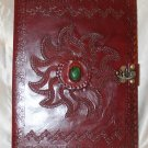 Leather folders / leather document/ organizer with semi precious stone in front.