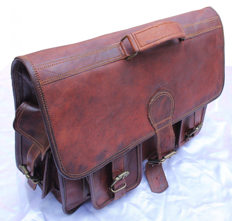 Handmade Vintage Leather Padded Briefcase Macbook Satchel Messenger Bag.
