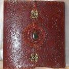 Handmade Leather Embossed Sketchbook with gem stone