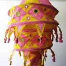 Indian designer handmade cotton Applique hanging lamp #9