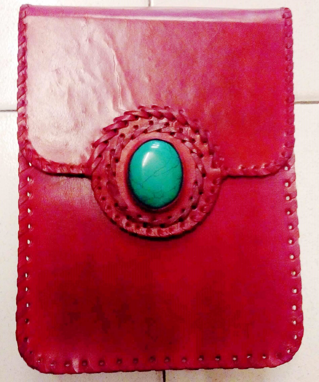 Handmade Leather Satchel/Messenger/Cross body Unisex Bag with gem stone.