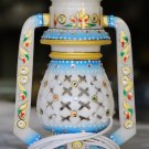 White Marble Lamp with Meenakari and Kundan work. For gifts and decor. #1