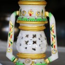 White Marble Lamp with Meenakari and Kundan work. For gifts and decor. #2