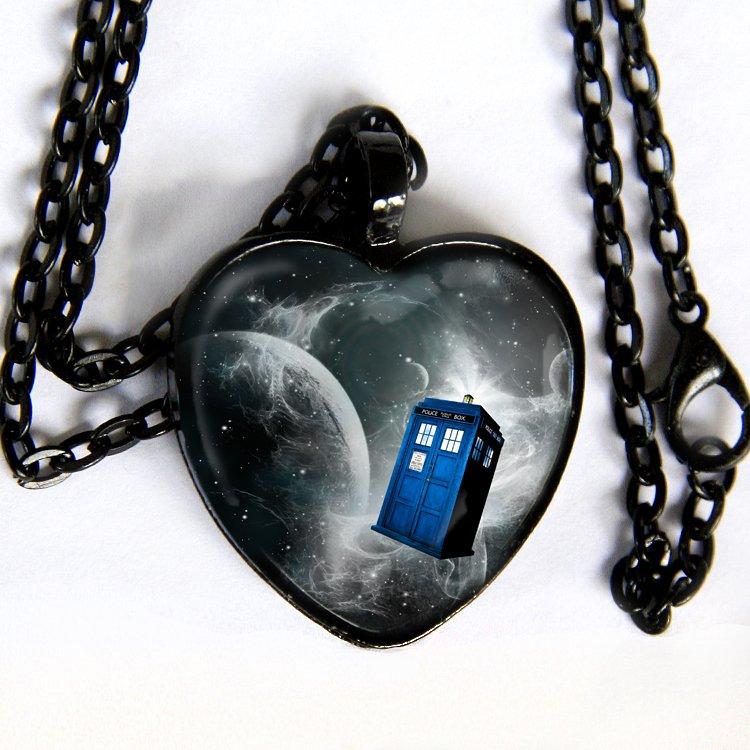 Doctor Who - Black & White TARDIS necklace - silver, black, brass, copper