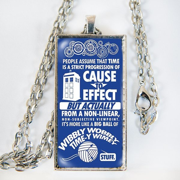 "Doctor Who ""Time-y Wime-y"" necklace - silver, black, brass, copper"