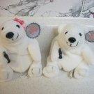 NWT Pair of COCA-COLA Polar Bear Plush Bean Bag Toys #0109 #0110 (1997)