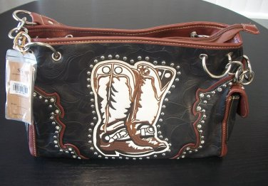NEW - Gun Conceal Cowgirl Purse Bag Boot Design with Rhinestones HH407-1 Right Handed