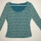 EUC - LIZ CLAIBORNE Womans Long Sleeve Shirt LG Green with Flowers