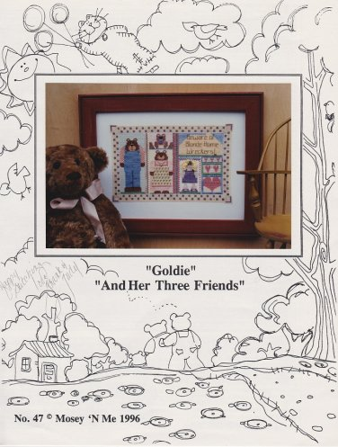Mosey 'N Me GOLDIE AND HER THREE FRIENDS Cross-Stitch Pattern Design FREE SHIPPING