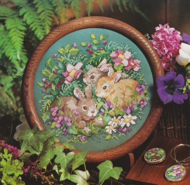 FLOWER PATCH BUNNIES Cross-Stitch Single Pattern ONLY Rabbits Spring FREE SHIPPING
