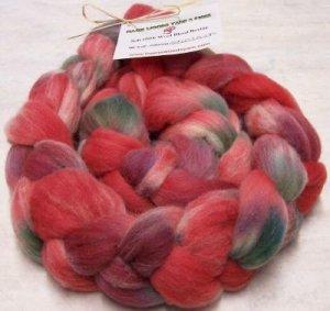 """Soft Wool Blend Handpainted Roving  """"Apples N Plums"""""""
