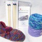 "Lined Wool Slippers Knitting Kit +2 Sets Needles "" Biloxi Blues"""