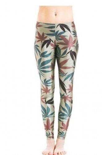 Ladies camo cannabis print leggings