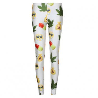 Cannabis weed leaf emoji leggings